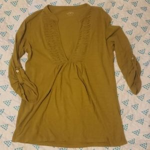 Ann Taylor Loft Olive Long Sleeve Top Size Medium
